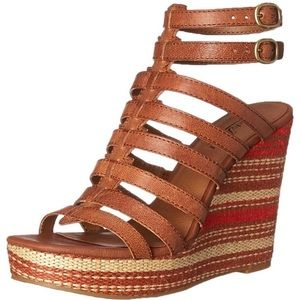 Lucky Brand Labelle Caged Wedge Heel Sandal Woven